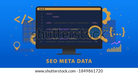 SEO Meta Data, HTTP Website Header Tag Optimization. Search engine optimization title tags and seo meta data description elements. Horizontal vector banner illustration for header with hypertext code