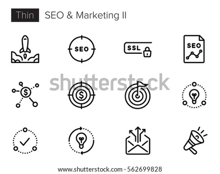 SEO Optimization and Marketing Thin line Vector Icons set