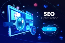 Seo optimization banner, marketing business technology, monitor with data analysis platform on screen, website research, neon glowing futuristic background. Cartoon vector illustration, landing page
