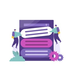 SEO optimization, boosting content, popularizing the website. illustration of a team working together to raise their content to the number one or very first page. flat style. vector design