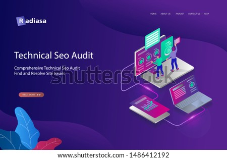 Seo optimization concept flat isometric design illustration