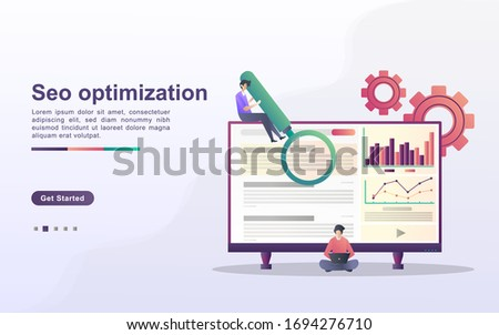 SEO Optimization concept. SEO marketing company, SEO result optimization, SEO Ranking. Can use for web landing page, banner, flyer, mobile app. Vector Illustration