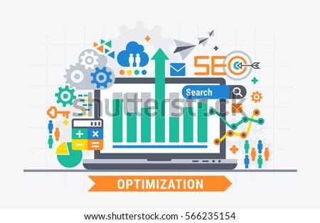 SEO optimization. Flat illustration analytics design.