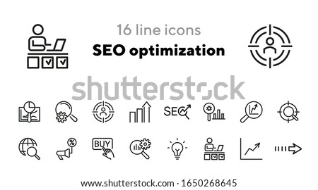 SEO optimization icons. Set of line icons. Achieving results, brand manager. SEO concept. Vector illustration can be used for topics like internet, marketing
