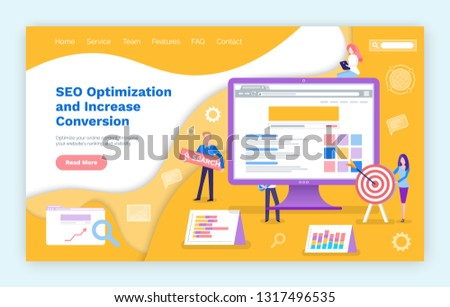 Seo optimization increase of conversion web search vector. People working on changing search engines, computer screen with data and charts schemes. Website or webpage template, landing page flat style
