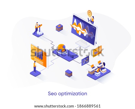 SEO optimization isometric web banner. Internet analytics, online research isometry concept. Website optimization for relevant searches 3d scene design. Vector illustration with people characters.