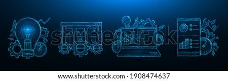 SEO optimization low poly design. Search engine optimization. Smartphone, laptop, browser window, light bulb, gears, speedometer, statistics data polygonal vector illustration Photo stock ©