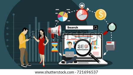 SEO optimization. People using laptops for developing and optimizing website or mobile app. Flat modern design of young programmers coding a new project and analysing search engine