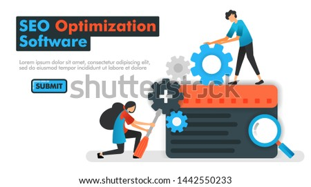 SEO optimization software vector illustration. programmers do maintenance and increase search engine results with SEO optimization. Can be used for Landing pages Website Mobile App UI / UX Poster Ads