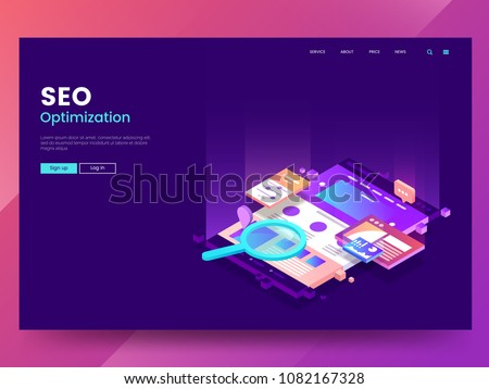 Seo optimization web page template. Isometric Web interface with different app. Colorful website illustration under a magnifying glass. Modern Landing page concept. Vector eps 10.