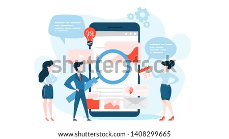 SEO or search engine optimization concept. Marketing strategy and website development. Optimize content, testing and maintenance. Vector illustration in cartoon style
