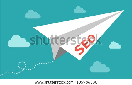 SEO paper plane flying up - getting results in search engine