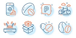 Seo phone, Parking and Bike rental signs. Packing boxes, Soy nut and Coffee beans line icons set. Medical pills, Wifi symbols. Delivery box, Vegetarian food. Business set. Outline icons set. Vector