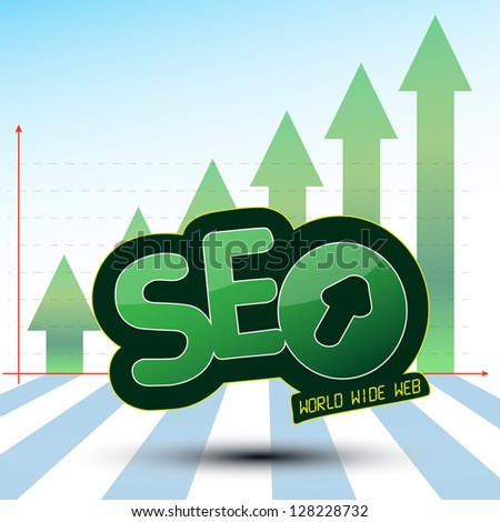SEO Process Graphics with Green Arrow Up Searching Engine Optimization, SEO, an Icon which show the World wide web (WWW) Process used for a success Optimization on the web and Growing Green Arrows.