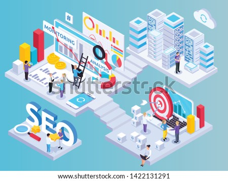 SEO project isometric composition with key words symbols vector illustration