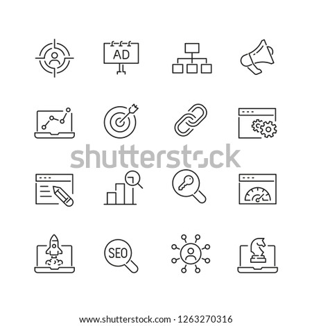 Seo related icons: thin vector icon set, black and white kit