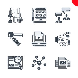 SEO Related Vector Glyph Icons Set. Search engine optimization Related Vector Glyph Icons. Social media, domain, marketing, blog, pages, tags, research, consulting, web design. Editable