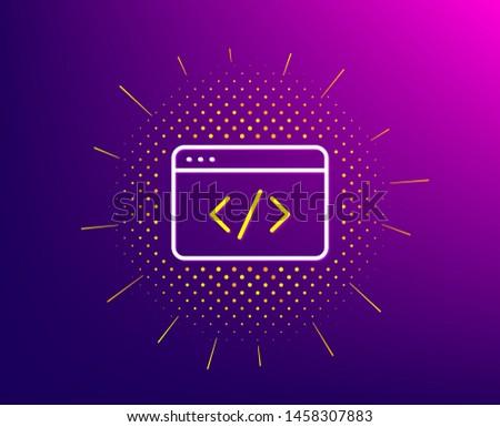 Seo script line icon. Halftone pattern. Web programming sign. Traffic management symbol. Gradient background. Seo script line icon. Yellow halftone pattern. Vector