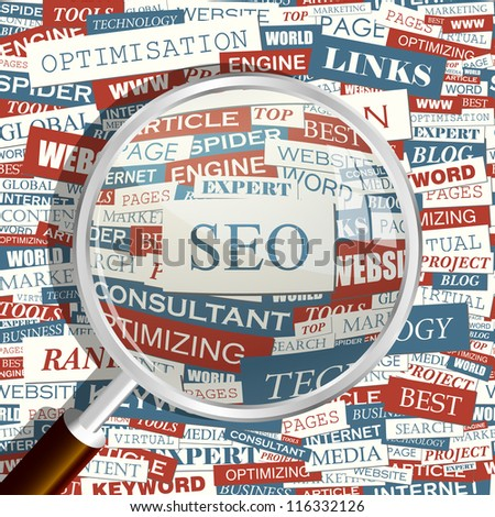 Seo. Seamless backdrop and magnifying glass.