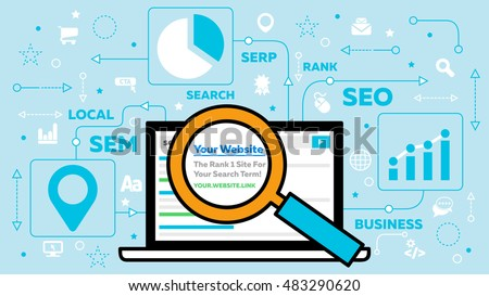 SEO - Search Engine Optimization - Concept with Laptop and Magnifying Glass - SEM, SERP, Local, Rank and Other SEO related Keywords