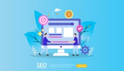 SEO Search engine optimization result concept. website ranking, advertising, strategy idea people character. web landing template, banner, presentation, social, and print media. Vector illustration