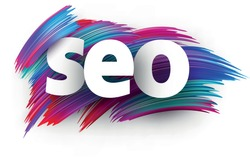 Seo sign letters on multi-colored cold tone background. Vector design element.