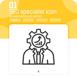 seo specialist icon with outline style isolated on white background. Vector illustration seo specialist sign symbol icon concept for web design, ui, ux, website, logo, online, technology and apps