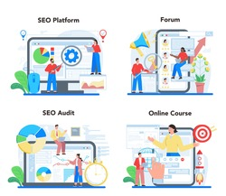 SEO specialist online service or platform set. Idea of search engine optimization for website as marketing strategy. Web page promotion. Online forum, seo audit, course. Vector flat illustration