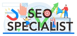 SEO specialist typographic header. Idea of search engine optimization for website as marketing strategy. Web page promotion in the internet, development audit. Vector flat illustration