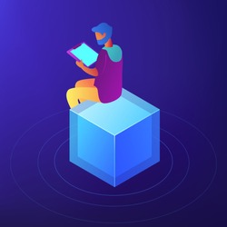 SEO specialist with clipboard working on content strategy. SEO content writer and copywriter, content strategist, report and analysis concept. Blue violet background. Vector 3d isometric illustration.