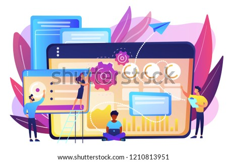 SEO specialists work on high-quality organic search traffic for websites. SEO analytics team, SEO optimization, internet promotion concept. Bright vibrant violet vector isolated illustration