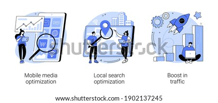 SEO strategy abstract concept vector illustration set. Mobile media optimization, local search, boost in traffic, search engine targeting, business digital promotion, visitor growth abstract metaphor. Foto stock ©