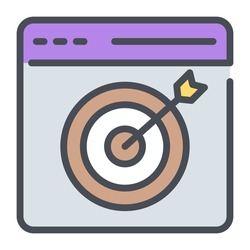 seo targeting flat line design, SEO and web flat design for mobile concepts and web apps. Collection of modern infographic logo and pictogram.