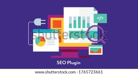 SEO tools, SEO plugin, SEO marketing software - conceptual flat design modern vector illustration with icons