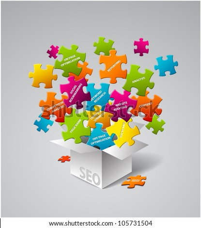 SEO Vector illustration - box full of search engine optimization elements