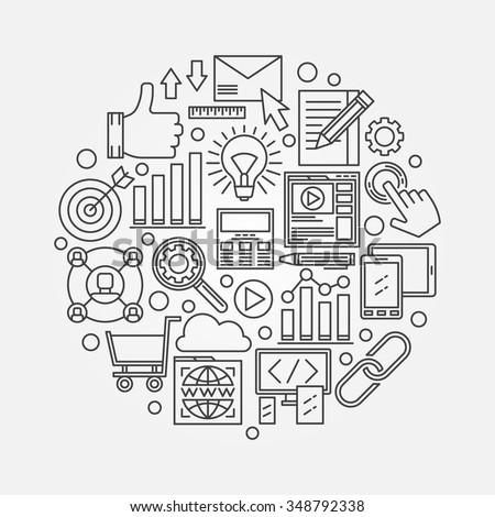SEO vector illustration - minimal thin line internet symbol or web design template
