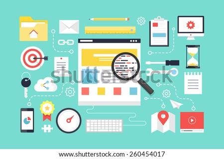 SEO , web development. Flat design style modern vector illustration.
