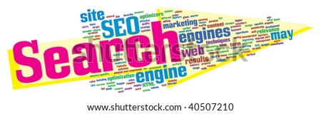 SEO word cloud illustration. Graphic tag collection.