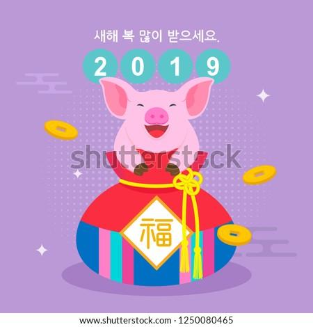Seollal (Korean New Year) greeting card vector illustration. Cute pig in fortune bag. Korean Translation:
