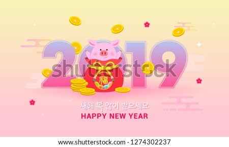 Seollal (Korean New Year) vector illustration, 2019 with pig in fortune bag and gold coins. Korean Translation: