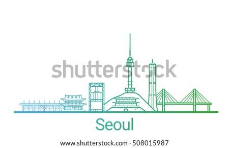 seoul city colored gradient