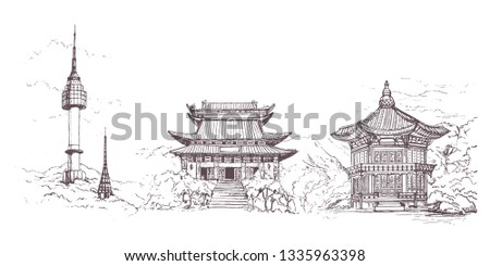 Seoul city, Line Art Vector illustration with all famous towers. Linear Banner with Showplace.World vacation travel sightseeing Asia collection. Gyeongbokgung.Palace.Bukchon Hanok Village.illustration