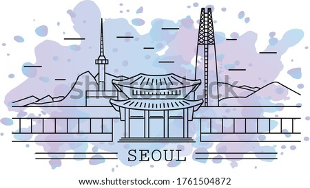 seoul city, line art with watercolor splash background, include lotte tower, namsan tower, temple, sky tower