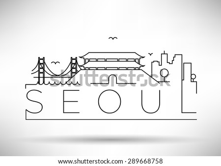 seoul city line silhouette