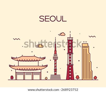 seoul city skyline detailed