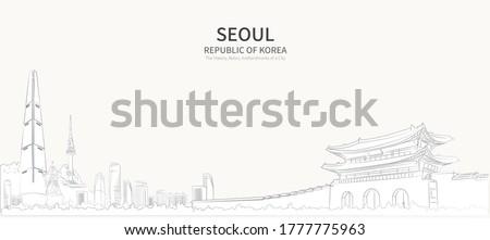 Seoul cityscape line vector. sketch style south korea landmark illustration.