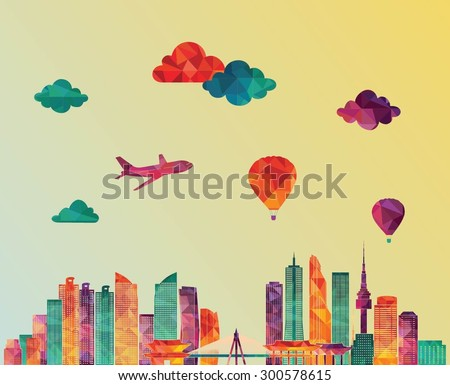seoul detailed skyline vector