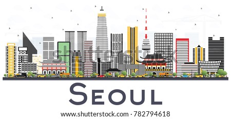 seoul korea city skyline with