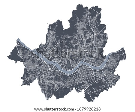 Seoul map. Detailed vector map of Seoul city administrative area. Cityscape poster metropolitan aria view. Dark land with white streets, roads and avenues. White background. Сток-фото ©
