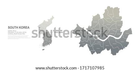 seoul map. south korea city, provinces vector map series.